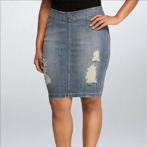 Torrid Denim Pencil Skirt with Destruction Size 16
